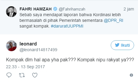Fahri Hamzah Sebut DPR RI Kompak, Netizen: Kompak Nipu Rakyat ya?