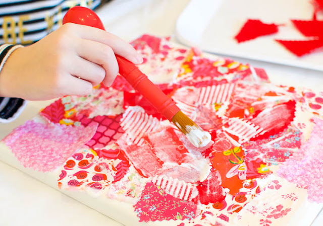 Valentine's Day Fabric Collage- use fabric scraps in shades of pink, red, and purple to make a pretty heart shape. Wonderful process art project for preschool, kindergarten, elementary, or older kids. No sewing required!
