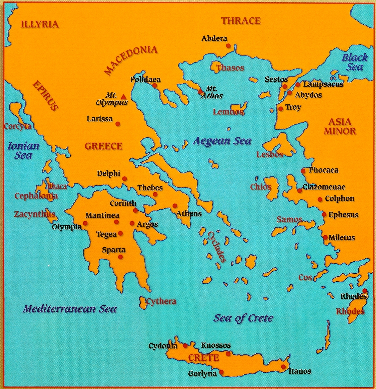 Carte De La Grece Antique A Completer