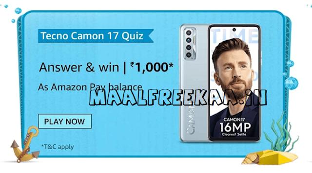 tecno camon 17 win prizes rs 1000 on amazon