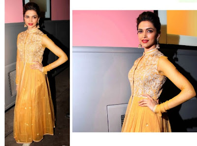 Deepika Padukone in a Sonaakshi Raaj silk sari with pretty lace placement and embroidery.