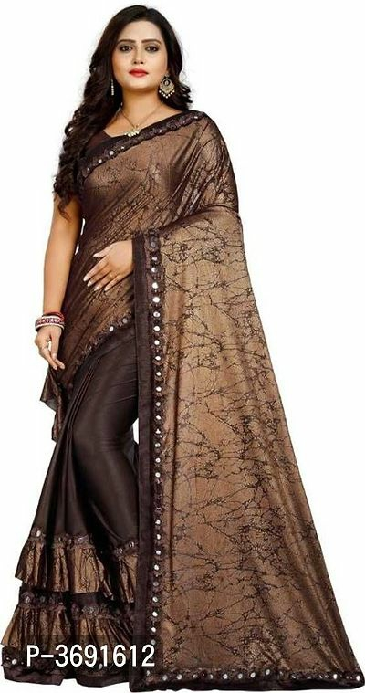 Satin Ruffle Saree with Blouse Piece