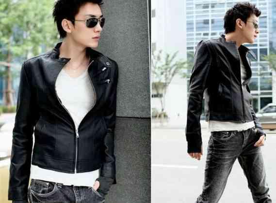 desain jaket kulit polos korean style