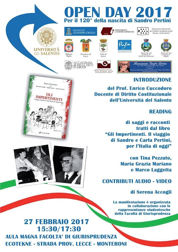 Lunedì 27 Febbraio alle ore 15:30, in Università del Salento si ricorderà il Presidente Sandro Pertini
