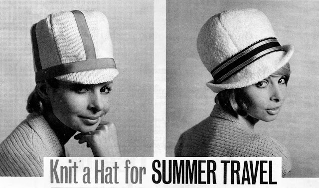 The Vintage Pattern Files: Free 1960's Knitting Pattern - Knit a Hat for Summer Travel