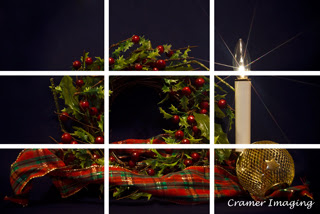 Cramer Imaging's professional quality fine art photograph of a Christmas wreath, candle, and ornament