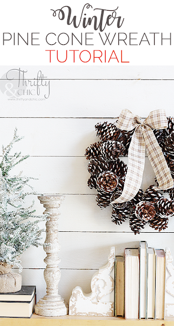 DIY Winter pine cone wreath. DIY pine cone crafts. DIY Christmas wreath tutorial. Christmas craft ideas. Easy Christmas crafts. DIY Christmas decor.