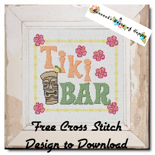 tropical tiki bar sign cross stitch pattern