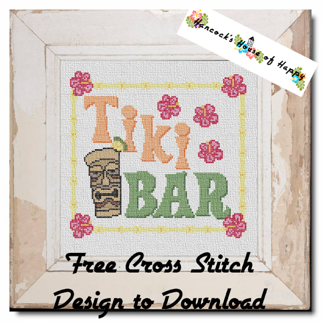 Cross Stitch Tiki Bar Sign. Tropical Cross Stitch Pattern to Download for Free