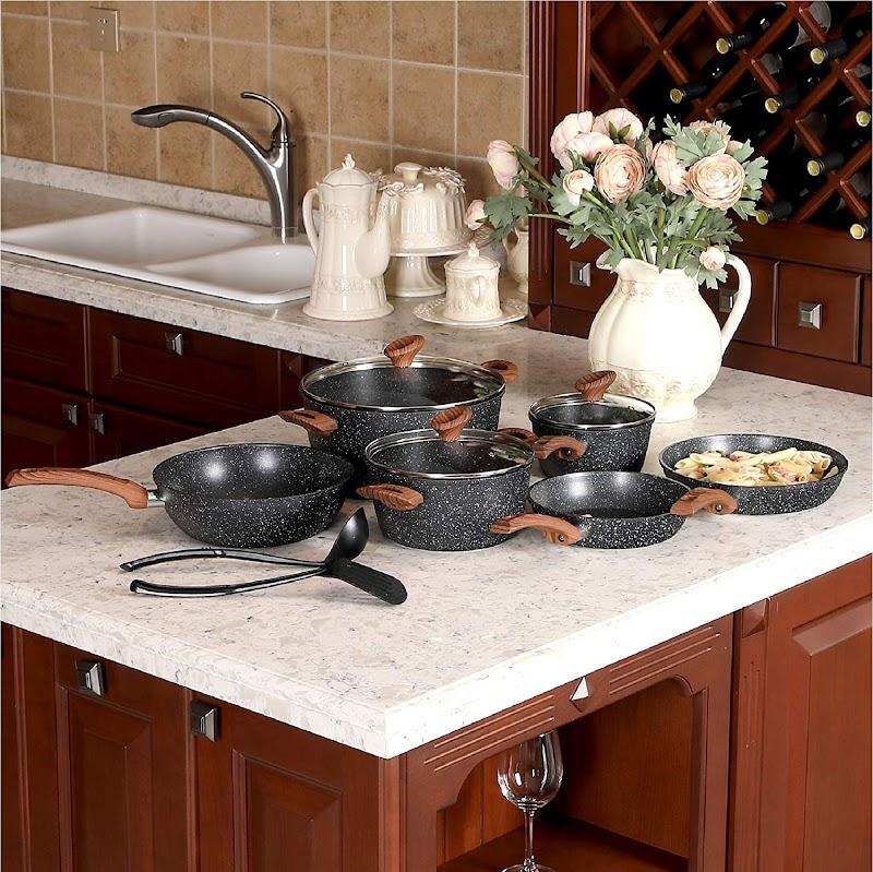AMAZON - 40% off 12 Piece Nonstick Granite-Coated Cookware Set