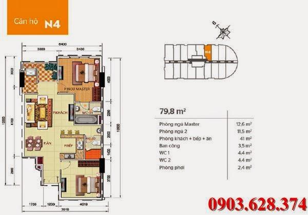 Bán lại căn hộ Phúc Yên 2 quận Tân Bình, 2 phòng ngủ, diện tích 79.8m2
