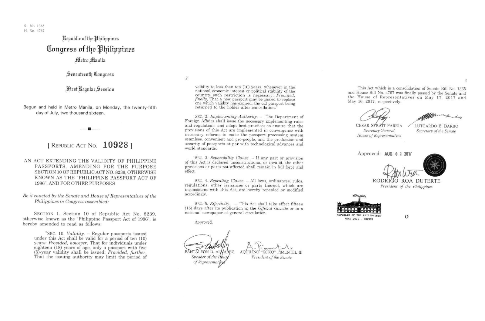 "President Rodrigo Duterte signed into law on Wednesday Republic Act 10928 extending the validity of Philippine passports to 10 years. The new law states that ""Regular passports under this act shall be valid for a period of 10 years. Provided, however, that for individuals under 18 years of age, only a passport with five-year validity shall be issued.""  Republic Act 10928 amends Republic Act 8239 or the Philippine Passport Act of 1996.  The new law also states that the issuing authority may limit the validity to less than 10 years in cases where national economic interest or political stability is at stake.  But do not get excited that the Department of Foreign Affairs will issue passports with longer validities soon. The DFA has to prepare the implementing rules and regulations of RA 10928 first, to ensure that its provisions will be implemented.  The President also signed Republic Act 10930, which extends the length of the driver's license's validity to 5 years. The law amends Section 23 of RA 4136 or the Land Transportation and Traffic Code, which set a three-year validity for the license.  ""Except for student permits, all drivers' licenses shall be valid for five years reckoned from the birth date of the licensee, unless sooner revoked or suspended,"" the new law says.  Under the law's Section 23, a driver holding a license with a 5-year validity may even be granted a license with a 10-year validity upon renewal if found that he or she has ""not committed any violation of RA 4136 and other traffic laws, rules and regulations.""  The law also mandates the establishment of stricter rules before the issuance of driver's licenses.  A fine of P20,000 shall be imposed on a driver's license applicant if found to have misrepresented material information in his or her application, connived with the officer in the irregular conduct of examinations or issuance of license, falsified documents, or cheated during examinations.  Both laws will be enforced and take effect  take effect 15 days after publication in the Official Gazette or in a newspaper of general circulation. The DFA and LTO will now write and publish the implementing rules and regulations for each of their jurisdictions."