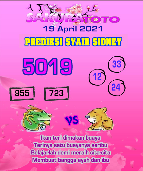 Syair Sakuratoto Sidney Senin 19 April 2021