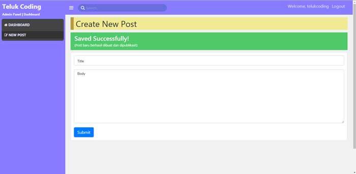 Membuat Blog dengan Laravel & VueJS - #7 | Respon pesan berhasil
