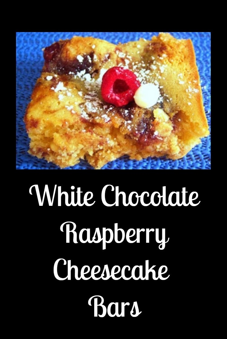 this is a cookie bar with white chocolate, raspberry jam with a cheesecake filling