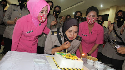 Polresta Bandar Lampung Gelar Syukuran di Puncak HUT Polwan Ke-72