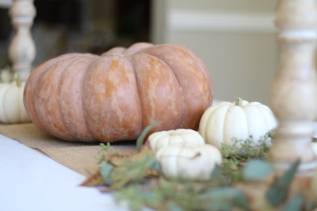 fall home tour table decor pumpkins orange and white