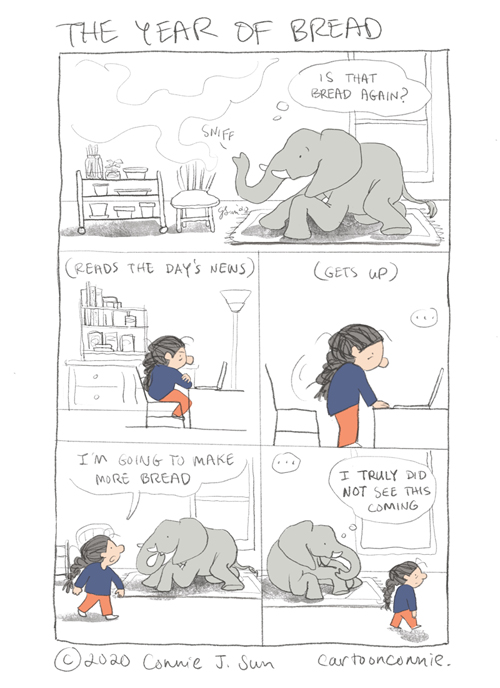 comics, illustration, humor, baking bread, pandemic diary, bread making, stress relief, sketchbook, drawing, connie sun, cartoonconnie