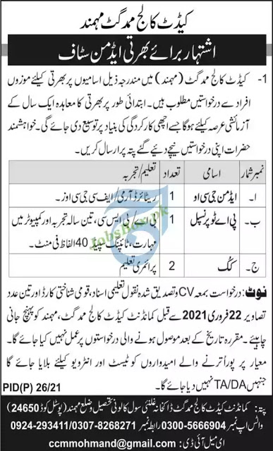 Latest Jobs in Pakistan Cadet College Mamad Gat Jobs 2021