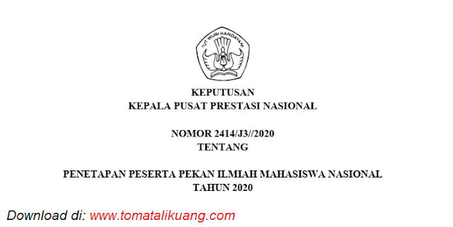 sk penetapan peserta judul lolos pimnas ke 33 tahun 2020 pdf tomatalikuang.com