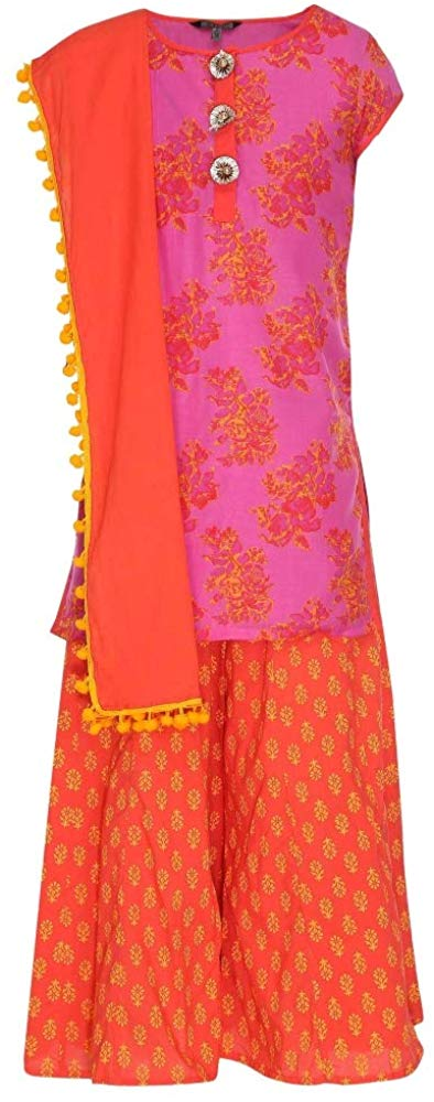 Stop by Shoppers Stop Girls Round Neck Printed Palazzo Set_Pink