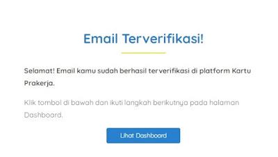 Link Verifikasi telah dikirimkan ke email kamu, Segera cek email dan klik tombol Verifikasi Email agar bisa melanjutkan proses pendaftaran Kartu Prakerja