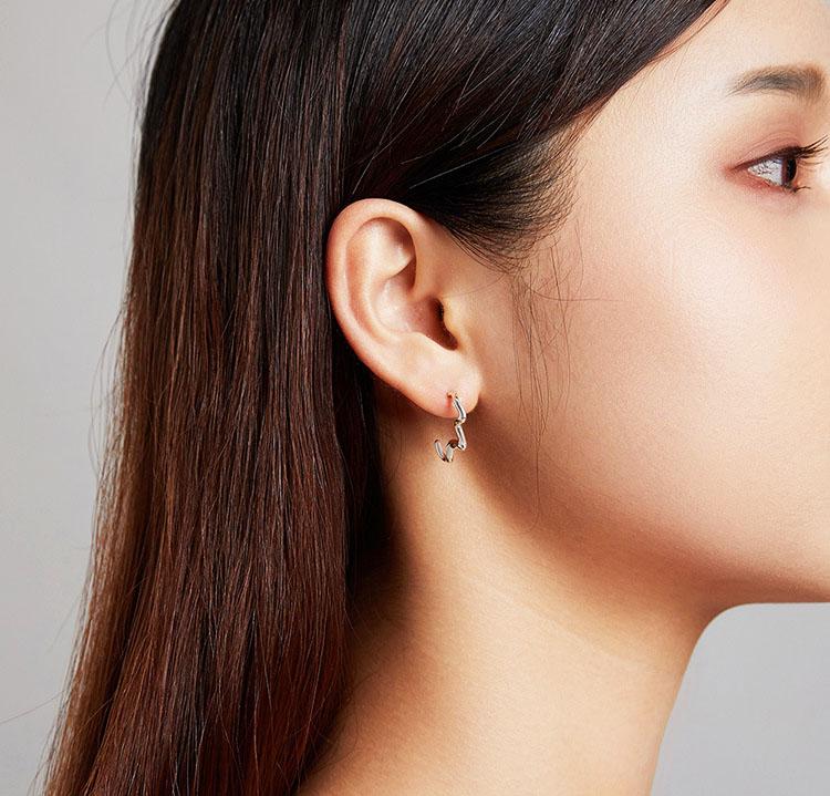 個性極簡風波浪 925純銀耳環