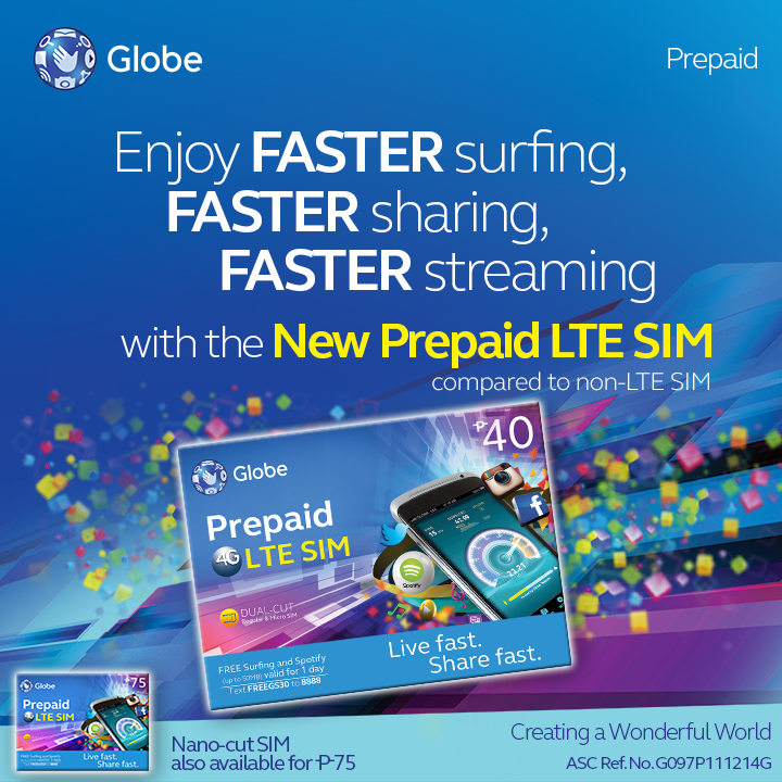 Globe Telecom Prepaid LTE SIM Card For Faster Mobile Speed ...