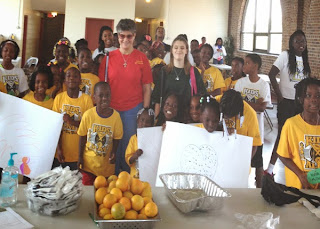 Laurel, Shelby and Miss Patty with 2014 summer day campers, Charleston, SC
