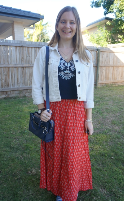 boho embroidered tunic with red printed maxi skirt white denim jacket winter outfit | awayfromblue