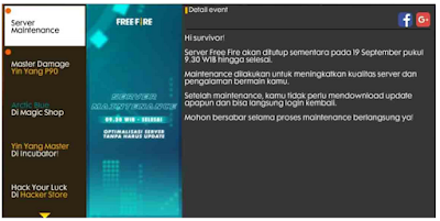 Maintenance FF 19 September,  Kapan Maintenance Free Fire 19 September 2019 selesai