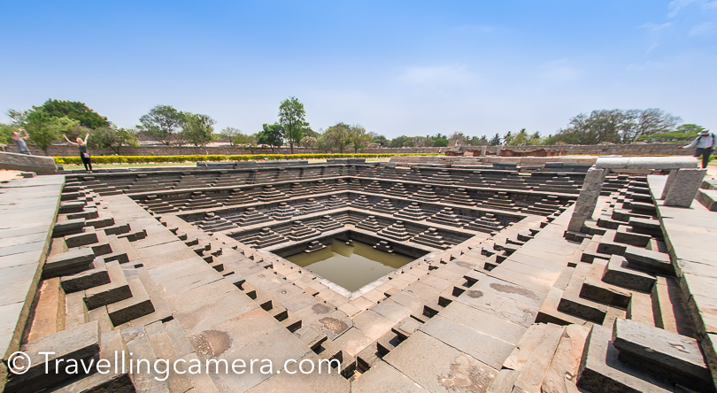 Here is a photograph of water source near the main mahal of Vijayanagara kingdom. Is surrounded by huge land full of ruins.
