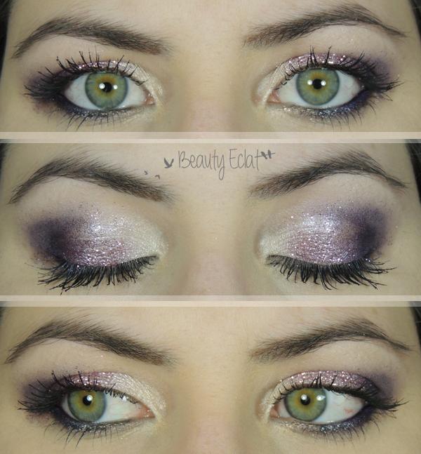tutoriel maquillage de fetes paillettes rose violet