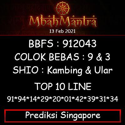 Prediksi Angka Singapore 13 Februari 2021