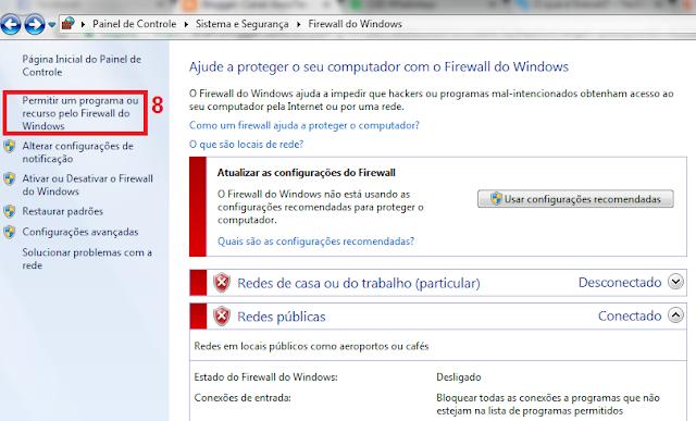 Volte até a aba Firewall do Windows que pode ser visto no passo 5.  8 - Agora clique em Permitir um programa ou recursos pelo Firewall do Windows.