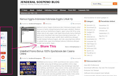 Tombol Share Melayang di Blog
