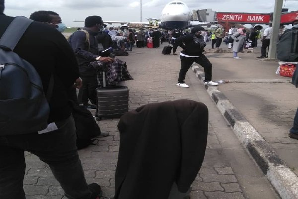 Update: Photos Of The Evacuated Nigerians Who Arrived Lagos From UK