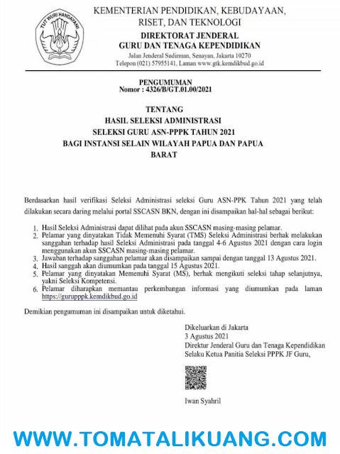 pengumuman hasil seleksi administrasi pppk guru tahun 2021 jadwal masa sanggah tomatalikuang.com