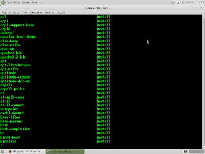Para listar os pacotes instalados no sistema debian