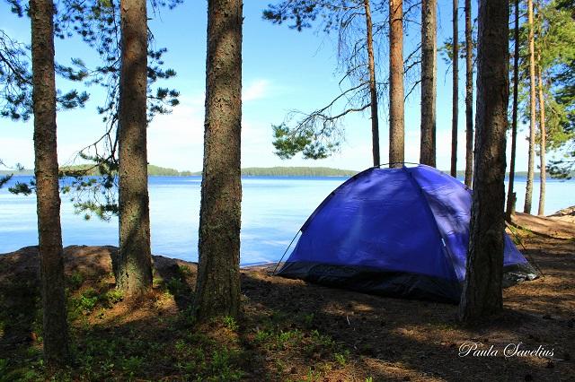 Teltta Kuolimojärven rannalla