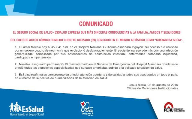 Comunicado essalud del fallecimiento de guayabera sucia - falleció actor comico en el Peru