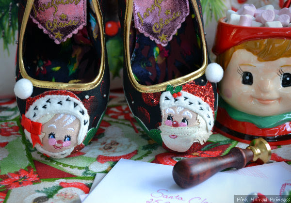 Mr & Mrs Claus applique design close up on shoes