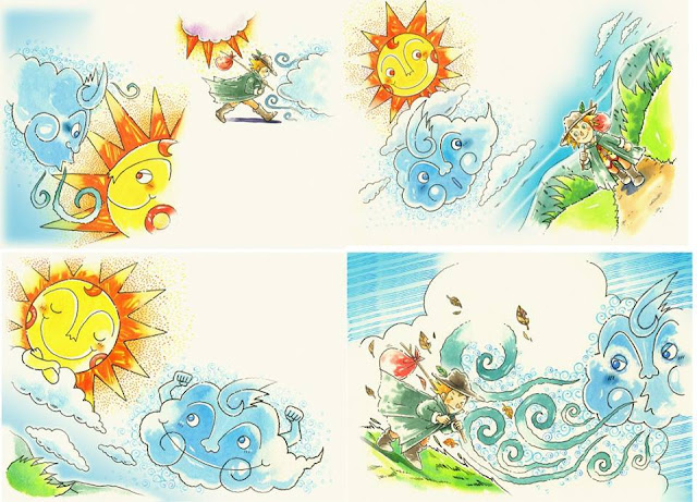 絵本、絵本イラスト、イラスト制作、イラストレーター検索、イラストレーター一覧、挿絵、水彩画、童話、古典、北風と太陽、子供、水彩画、イラスト、