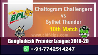 Who will win Today BPL T20, 10th Match Sylhet vs Chattogram - Cricfrog