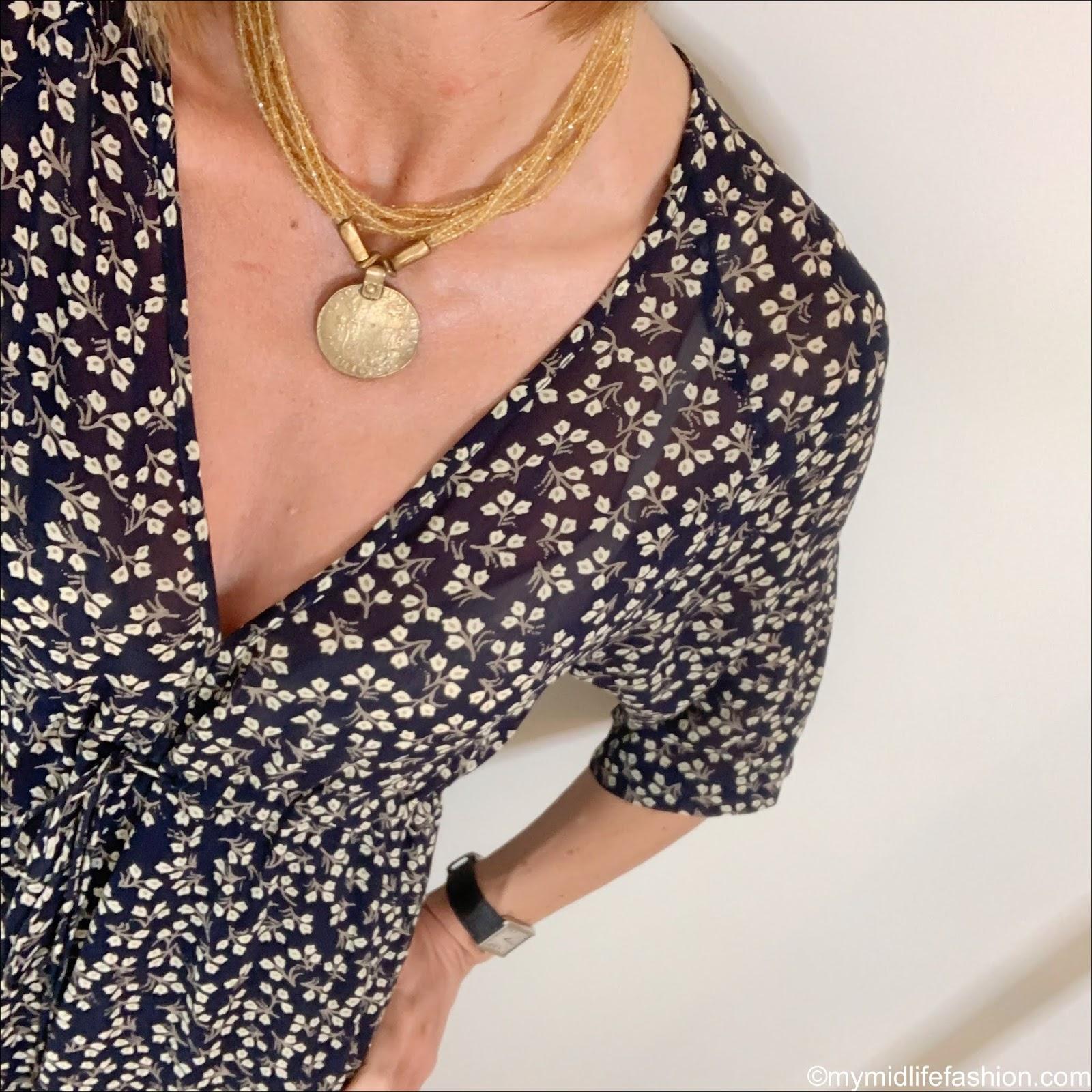 my midlife fashion, Ganni floral maxi dress, Ancient Greek desmos leather slides