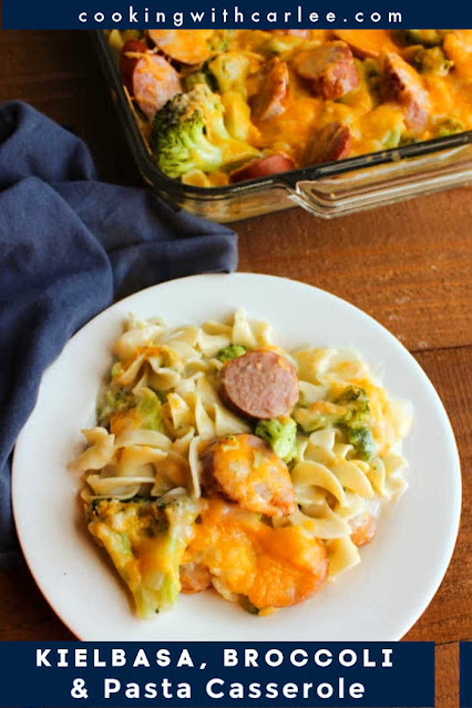 This yummy casserole has all of the good stuff, pasta, broccoli, kielbasa sausage and plenty of cheese.  It comes together quickly and can be prepped ahead of time for a tasty family dinner.