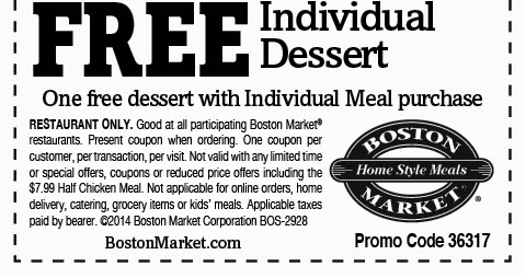 Boston Market Coupon Codes, Promos & Sales. Want the best Boston Market coupon codes and sales as soon as they're released? Then follow this link to the homepage to check for the latest deals.