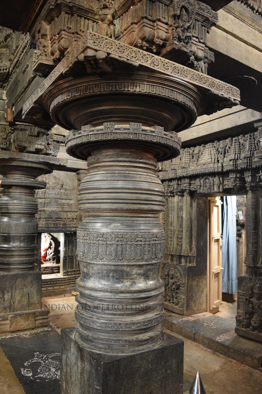 lathe tuned pillar in lakshminarayana temple hosaholalu. a unique feature of hoysala architecture