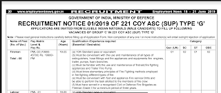 "221 COY ASC (SUP) TYPE ""G""  Previous Year Question Papers and Syllabus 2019"