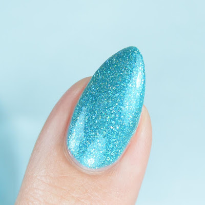 teal nail polish close up